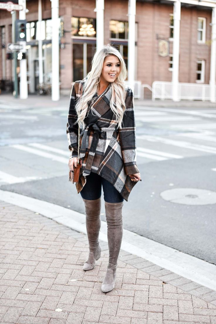 91a31f5d90d Erin Elizabeth of Wink and a Twirl shares the cutest plaid coat from  Chicwish