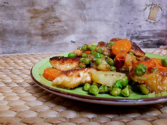 Pollo croccante patate e verdure