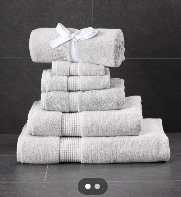 Autograph towels in silver grey by marks & spencer