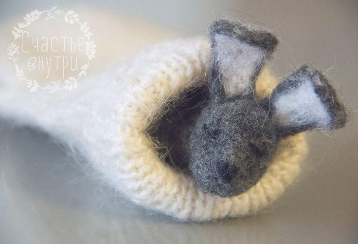 Валяние, зайчик, сute needle felted rabbit