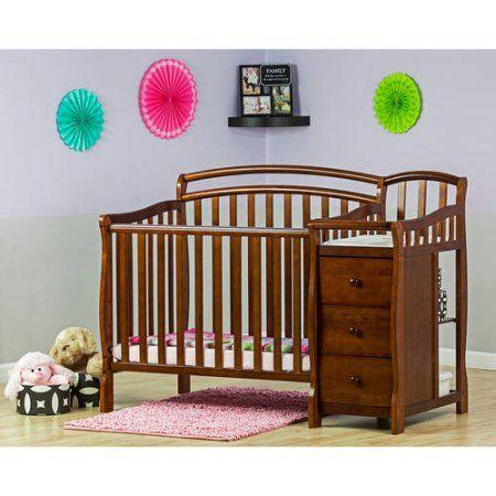 Dream On Me Casco 4-in-1 Mini Crib And Dressing Table, Espresso, Brown