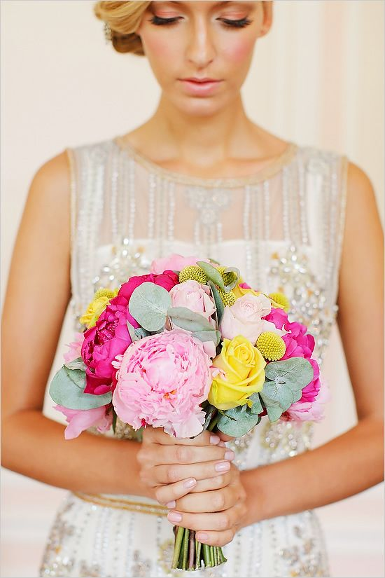 pink and yellow wedding bouquet (and i love her makeup)