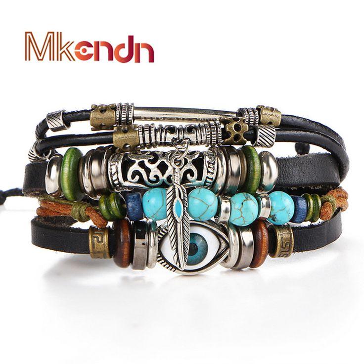 9d68713e57f3 MKENDN Evil Eye Vintage Beads Bracelet Handmade Woven Elegant Leather  Bracelets Bangles For Women Men Jewelry Fashion Accessory  Affiliate