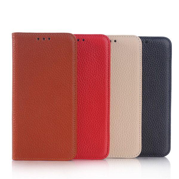 Litchi Grain Genuine Leather Stand Case For Samsung Galaxy S6 Edge