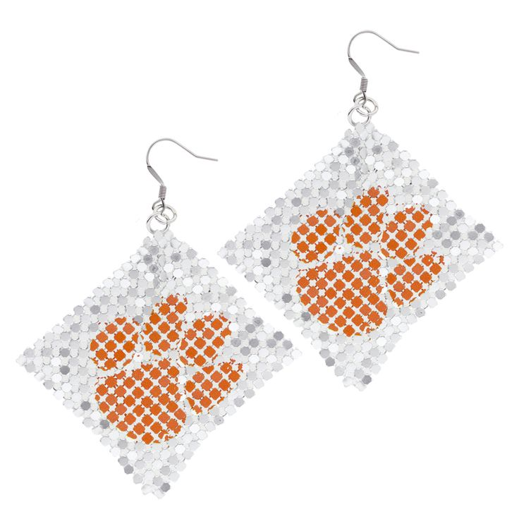 Clemson Tigers Mesh Tiger Paw Earrings - Silver