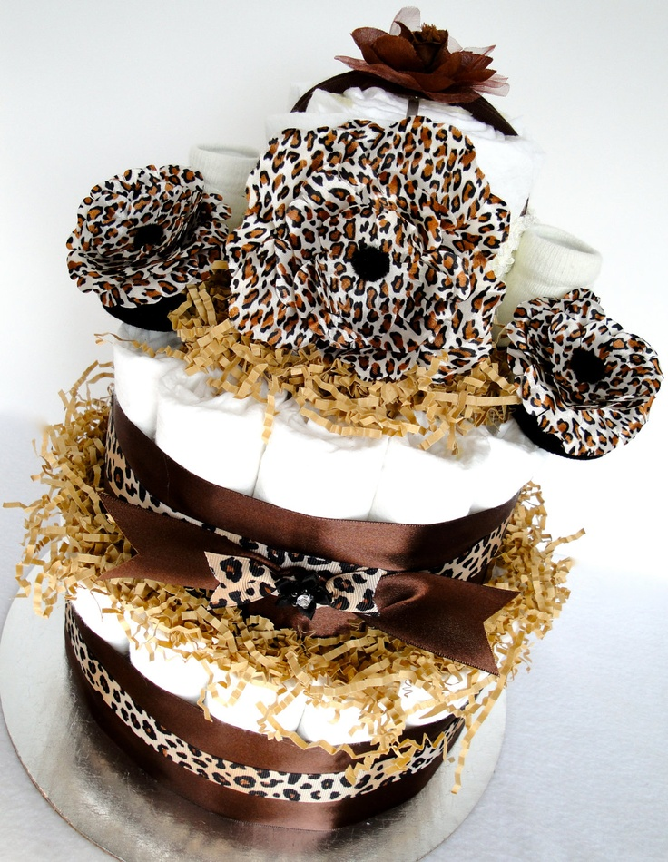 Diaper Cake   Brown U0026 Black Cheetah Baby Shower Diaper Cake Centerpiece. ,  Via Etsy