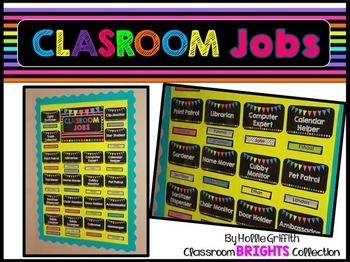 Free: This brightly colored classroom job chart is perfect for managing student jobs. This set comes with an editable PowerPoint file to create additional jobs and edit student names. Board Assembly Directions:-Purchase a thick poster board (I got mine at Walmart) and cover it with wrapping paper.-Glue border to the back of the board. -Glue jobs and header to the board.  -Use Velcro to move students around the job board each week!Check out my entire Classroom BRIGHTS Decor Collection.