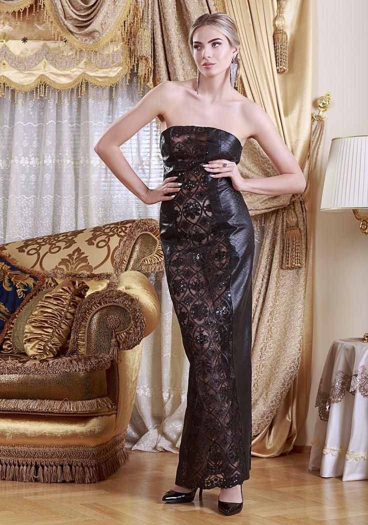 Evening Reindeer Leather Dress by Mariela Pokka