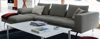 Canapé d'angle Bruce / L 298 cm x Prof 104 / 172 cm Camaieu blanc bleu & noir - Zanotta