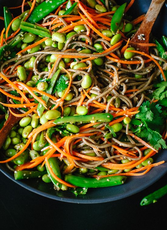 Sugar Snap Pea and Carrot Soba Noodles - Cookie and Kate...make sure to use gf tamari and gf soba noodles