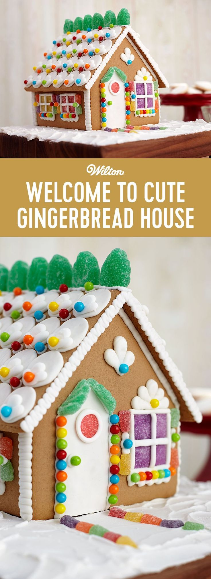 Cute Gingerbread House - Family and friends will have fun as you gather together to celebrate the holidays decorating this cute gingerbread house!