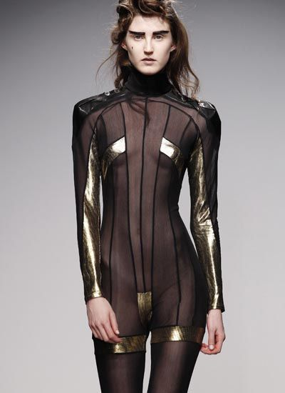 pam hogg sheer black gold playsuit