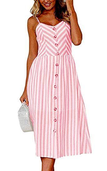 645e9562e5 Angashion Women s Dresses-Summer Floral Bohemian Spaghetti Strap Button  Down Swing Midi Dress Pockets at Amazon Women s Clothing store