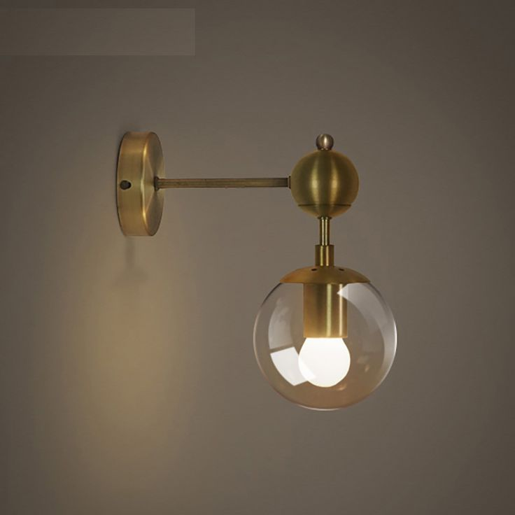 Cheap wall light, Buy Quality double wall light directly from China ball wall lamp Suppliers: American brief vintage cognac glass ball wall lamp golden magic bean wall sconce lamp home deco bedside single double wall light