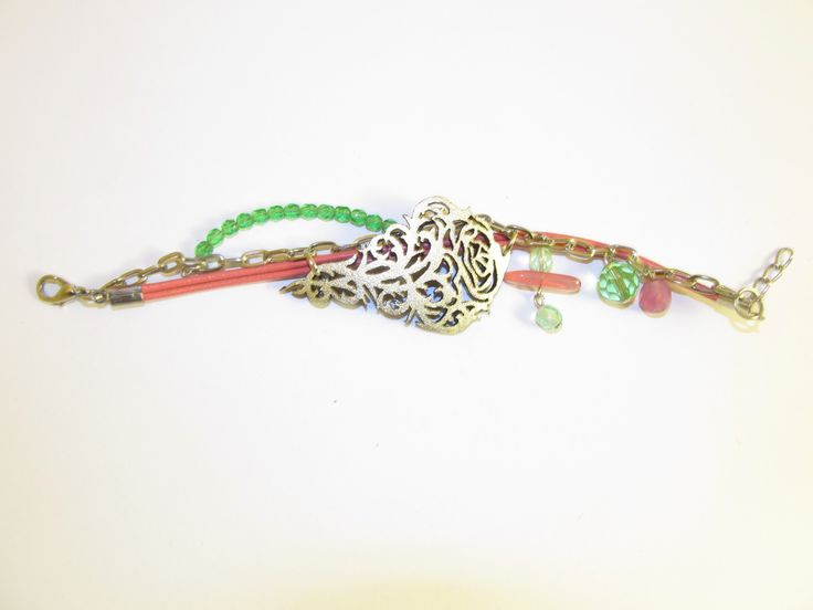 Handmade laser cut leather beaded bracelet (1 pc)  Made with silver leather filigree, silver tone chain, leather cords and glass beads.