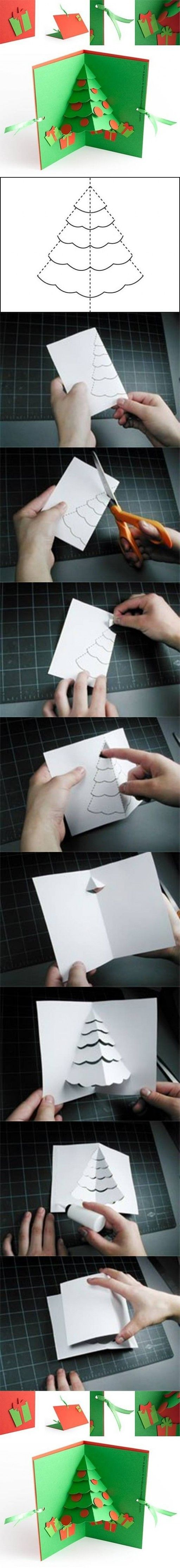 How to make Christmas Tree Pop Up Card step by step DIY
