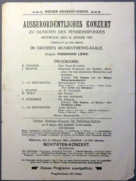 Loewe, Ferdinand - Playbill Vienna Symphony Orchestra 1905