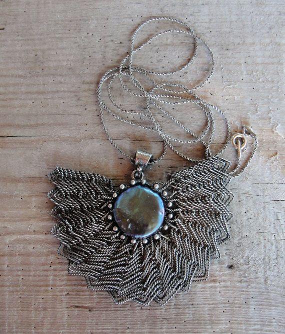 Fan Necklace Sterling Silver Handwoven Wire by StaroftheEast