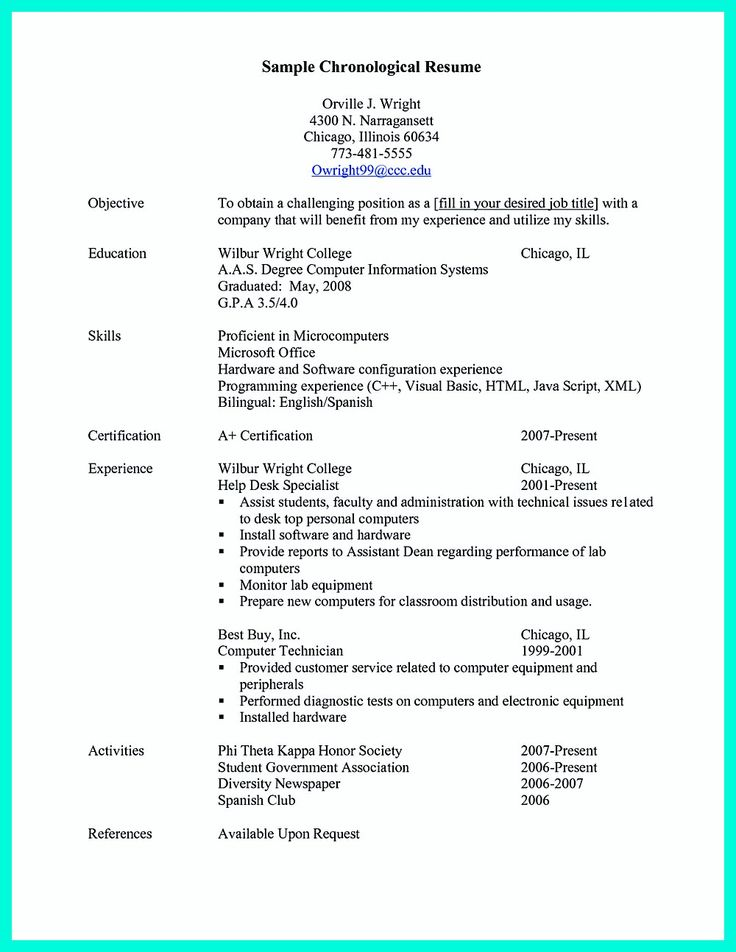 The 25+ best Chronological resume template ideas on Pinterest - sample chronological resume
