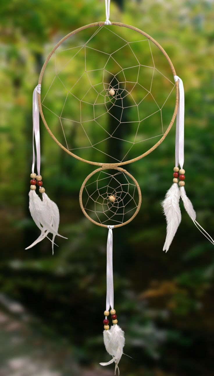 Item owg001 8 double ring dream catcher tan leather for How to make a double ring dreamcatcher