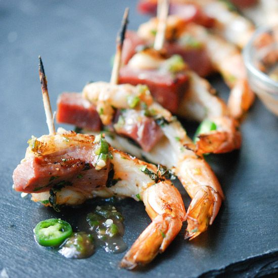 #AndrewZimmern's grilled shrimp-and-ham hors d'oeuvres are sweet, savory and spicy all at once—making them the perfect party food.