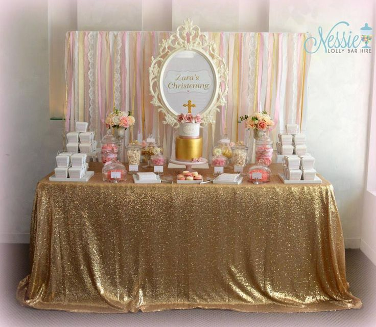 Gold and Dusty Pink Classic Girls Candy Buffet