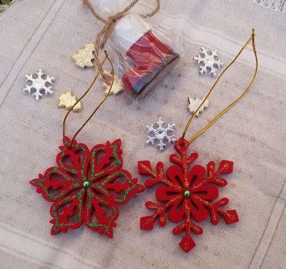 2 red felt stars felt Christmas tree ornaments felt by Rocreanique