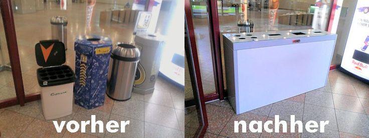 Moderne Abfalltrennbehälter, Abfallentsorgung, Recycling in der KBZ St.Gallen mit dem Multilith 4.0 Bild vorher/nachher, Waste Bin