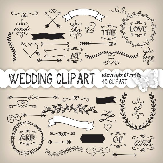Wedding laurel clipart, wedding invitation digital, vintage bridal clipart, small comercial use, INSTANT DOWNLOAD
