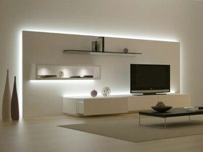 Minimalistic TV design- very well lit to highlight elements of design- classy
