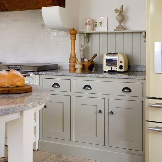Grey shaker style kitchen with white splash back and cup for Country style kitchen handles