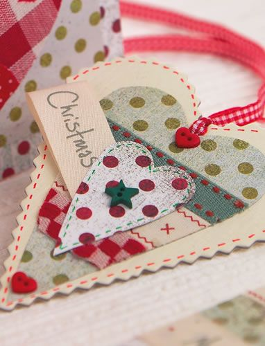 Create a festive gift-tag with folky ribbon, buttons and card - or turn into a hanging dec for windowsills and mantelpieces!