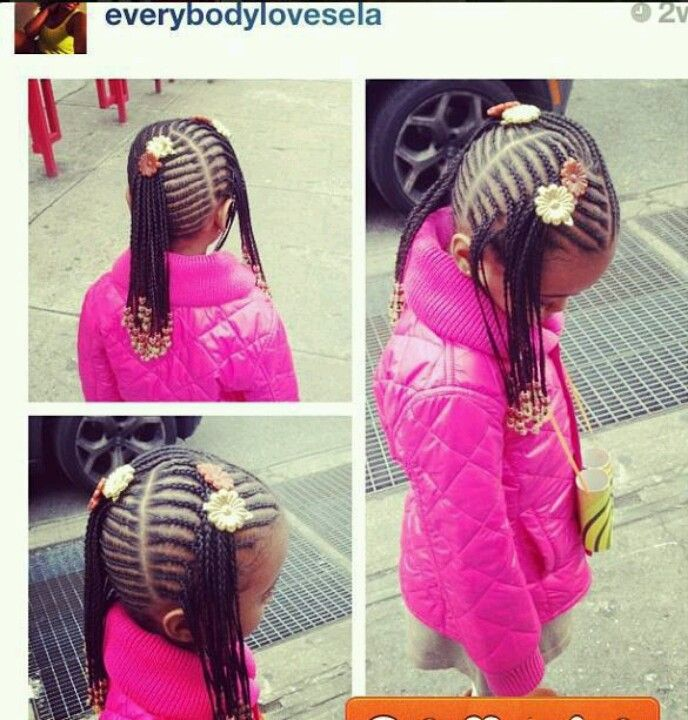 Little Girl With Long Cornrow Ponytails Hairstyles For