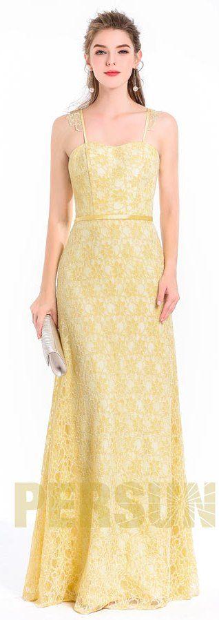 Chic robe soirée longue jaune empiècement en dentelle style lingerie avec romance pour mariage cérémonie anniversaire rendez-vous dîner