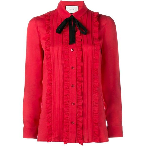 Gucci ruffle front shirt ($1,390) ❤ liked on Polyvore featuring tops, red, extra long sleeve shirts, long sleeve tops, red long sleeve shirt, gucci shirts and tie shirt