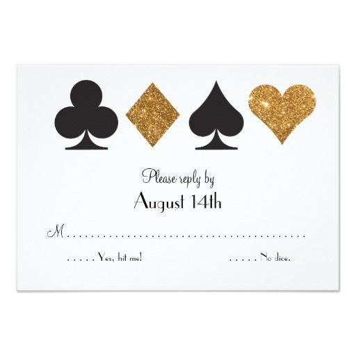 Destiny Las Vegas Wedding Reply Faux Gold Glitter Card