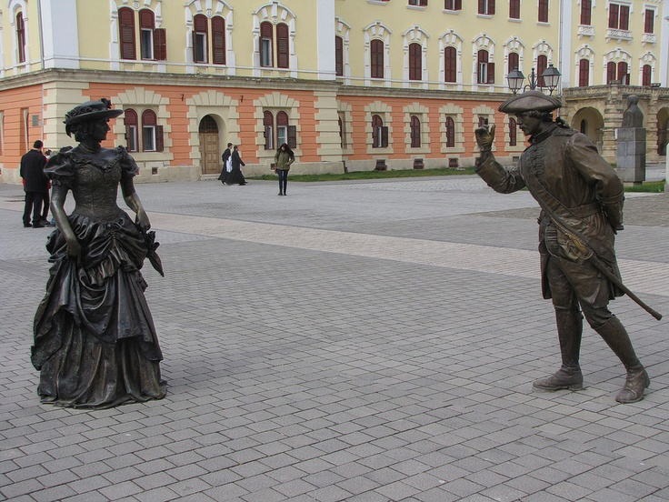 """Hello lady!"" – statues in Alba Iulia, Romania;  photo by Rausch Wilhelm Robert, via 500px"