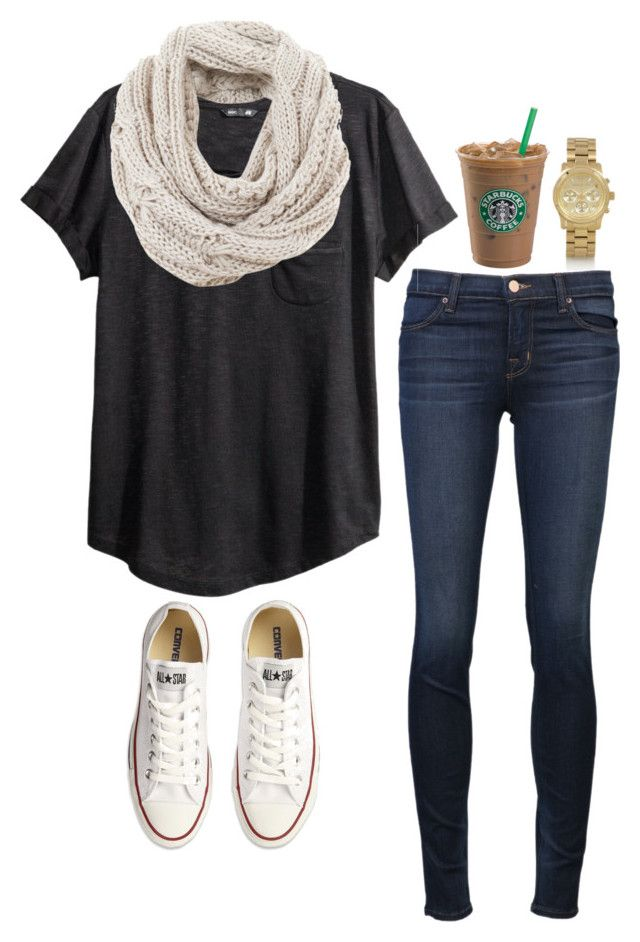 #fall #outfit / White Knit Scarf + White Sneakers