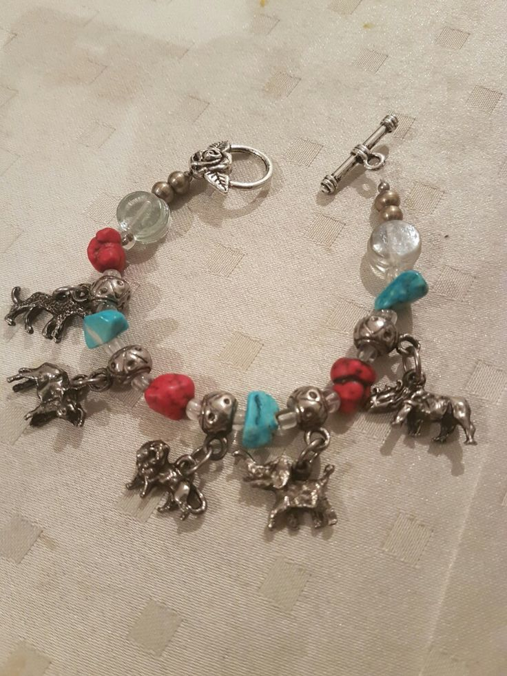 ladies  turquoise and red coral charm bracelet  BIG FIVE south African braclet#ladies fashion