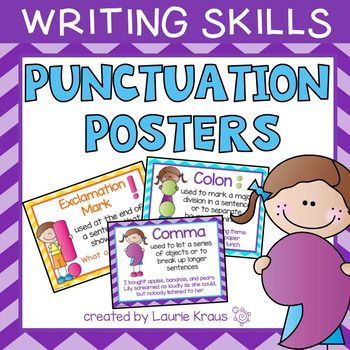 Are you teaching your students how to write using correct punctuation? These posters will help your students learn proper punctuation. The posters include adorable graphics, explanations of punctuation and examples. The posters include period, question mark, exclamation mark, quotation marks, comma, colon, parentheses, and semicolon. I also included full stop (requested from Australia).