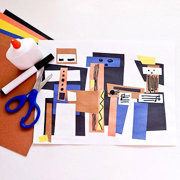 Discover how things can be pieced together with simple shapes. What You'll Need: White paper; construction paper (orange, yellow, blue, brown, black); black marker; scissors; glue Make It: Picasso relied on straight lines and edges to transform geometric shapes and bold strokes into the figures of three musicians. The whimsical style he popularized, which simplified the subject matter, is known as Cubism. Turn the paper horizontal. Cut several squares, rectang...