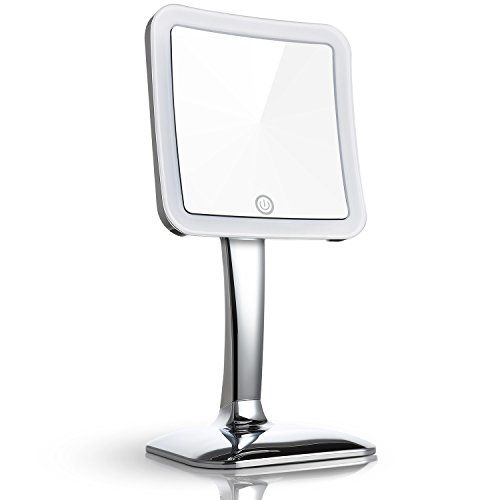 Miusco Magnifying LED Lighted Tabletop Makeup Cosmetic Mirror, Touch  Activated, Inch, Square, Chrome Compact Mirror With Ultra Clear Mirror With  16 Top