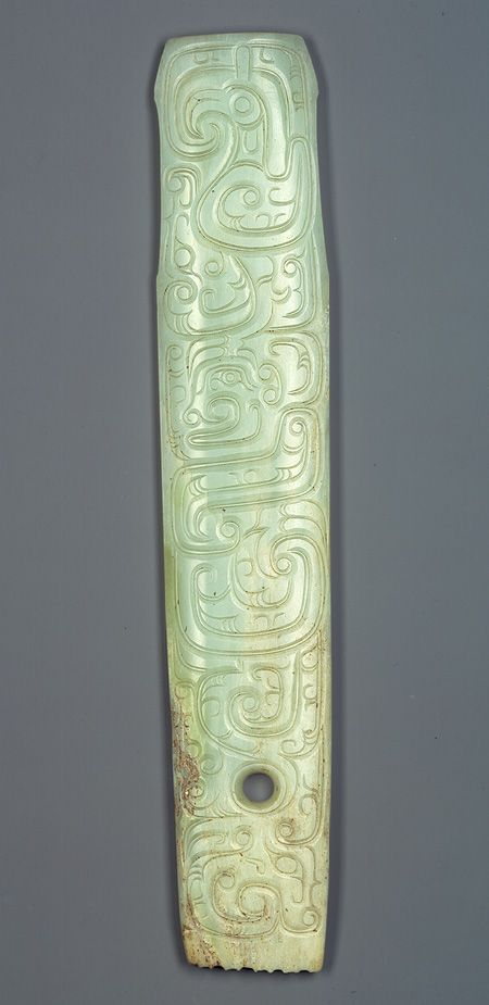 Handle-shaped ornament, Western Zhou dynasty (ca. 1046–771 b.c.), 10th–9th century b.c. China.  Jade (nephrite), Metropolitan Museum of Art