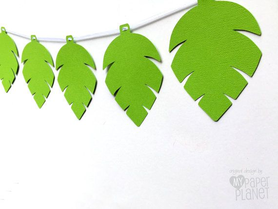 Jungle Leaf Party Banner. Birthday Party Baby Shower, little monkey, safari, dinosaur party. by MyPaperPlanet