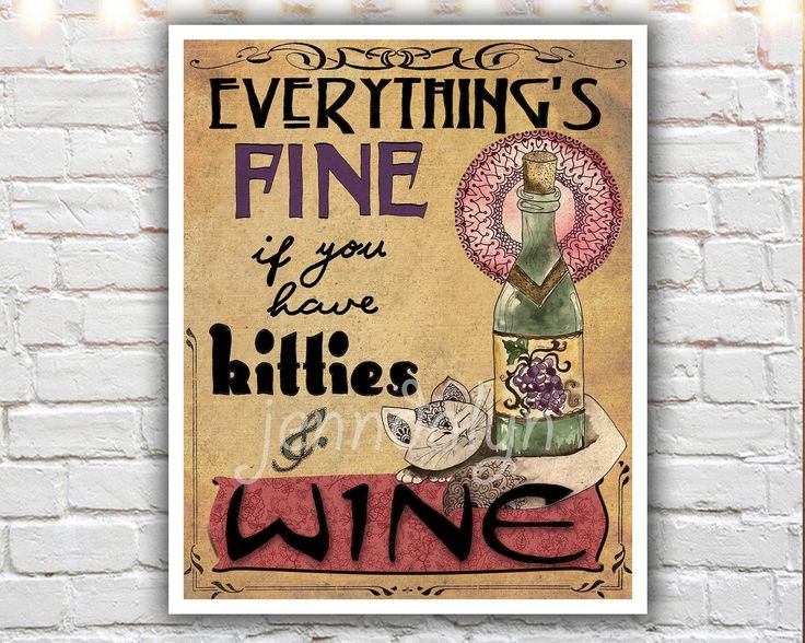 """Kitties & Wine"" PAPER PRINT – cat lover gift. TITLE – KITTIES AND WIN ..."