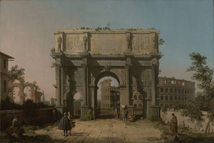 View of the Arch of Constantine with the Colosseum by Canaletto (1742-1745). The Arch of Constantine was built in Rome around 315 to celebrate Constantine's victory over Maxentius at the Milvian Bridge in 312.