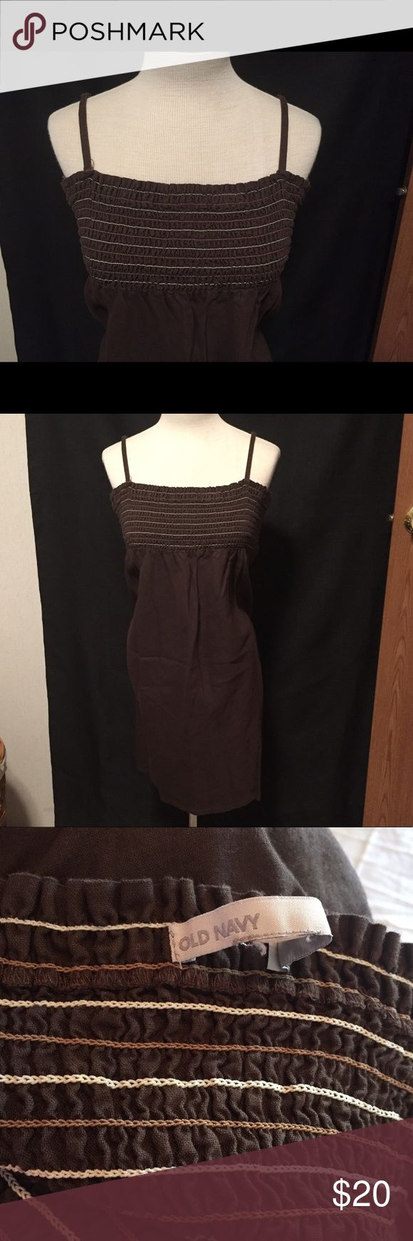 Old Navy spaghetti strap dress or swim cover up This is an adorable chocolate brown cotton dress with a flattering elastic ruched bust in tan and cream thread. This looks great with wedges and a cardigan or jean jacket for a cute summer work outfit or dress down over your bathing suit and flip flops! Very versatile piece- size part of tag is ripped off but it is a ladies size large. Make me an offer or bundle to save!! Old Navy Dresses
