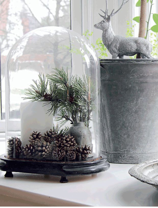 This cloche use idea lends itself well to using a battery operated candle...add some pinecones, and a small vase which holds some pine sprigs.