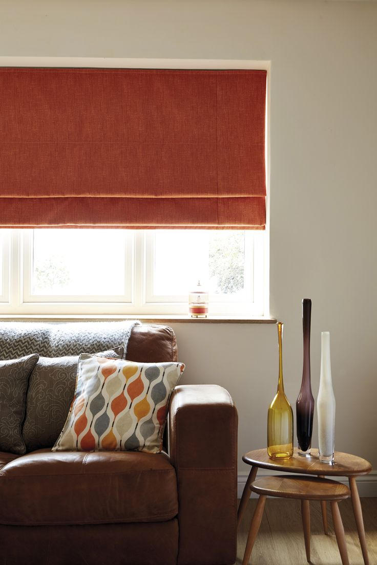 Our deep orange Roman Blinds are perfect for a warm, Autumnal coloured room.