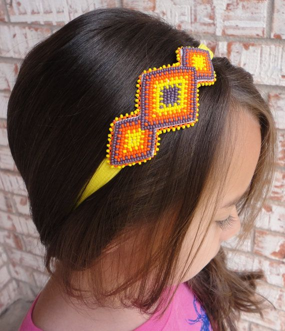 Diamond Shapes Beaded Headband  Purple Orange and Yellow Native American Style Hair Accessory by AlphaMelsBeadwork. FREE SHIPPING!